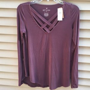 NWT American Eagle Soft & Sexy burgundy long top
